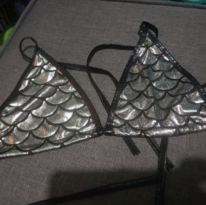 Free size silver mermaid rave bikini top